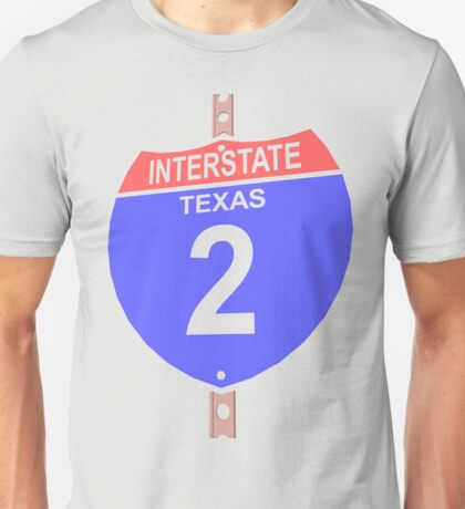 Interstate highway 2 road sign in Texas Unisex T-Shirt