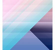 Modern Geometric Pink Blue Gradient Color Blocks Photographic Print