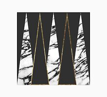 Long Modern Marble Black and Gold Triangles Women's Fitted Scoop T-Shirt