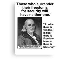 Ben Franklin Double Quote Canvas Print
