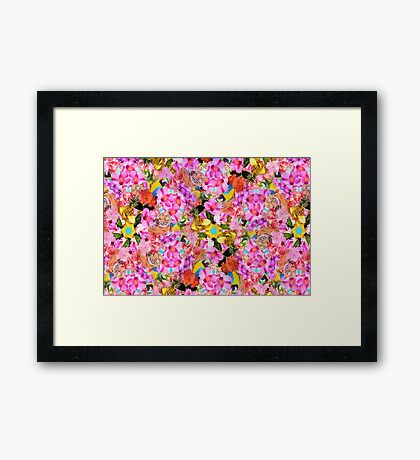 Tropical Tiger And Hibiscus Floral Print Framed Print
