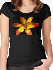 Red and Yellow Lily Women's Fitted Scoop T-Shirt