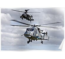 AgustaWestland Wildcat HMA2 & Apache AH1 Helicopters Poster