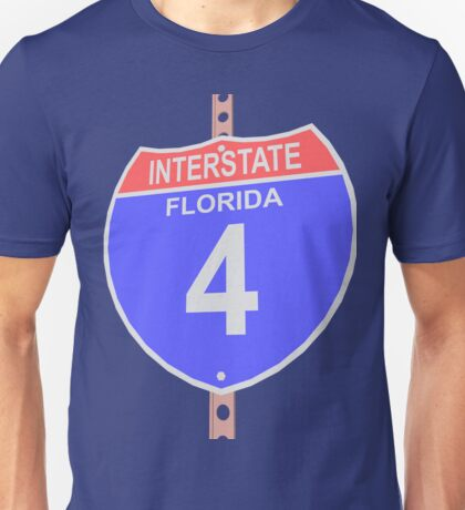 Interstate highway 4 road sign in Florida Unisex T-Shirt