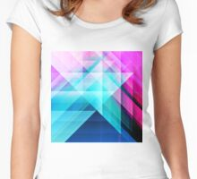 Pink Teal Navy Blue Painted Modern Geometric Women's Fitted Scoop T-Shirt