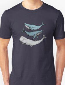 Three hand-drawn whales-friends T-Shirt