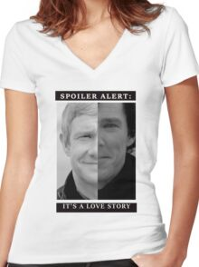 JOHNLOCK | Love Story Women's Fitted V-Neck T-Shirt