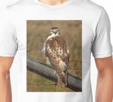 Red-tailed Hawk on fence Unisex T-Shirt