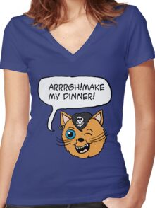 Pirate Cat  Women's Fitted V-Neck T-Shirt