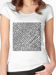 Modern White Black Popular Trendy Abstract Pattern Women's Fitted Scoop T-Shirt