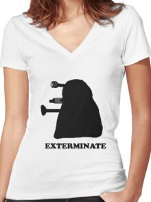 EXTERMINATE DALEK IN THE SHADOWS Women's Fitted V-Neck T-Shirt