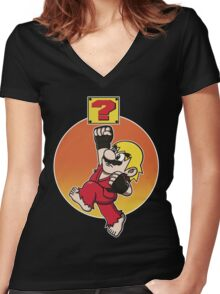 MARIOMASTERS Women's Fitted V-Neck T-Shirt