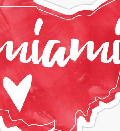 Miami - Miami University, Ohio Watercolor Heart Sticker