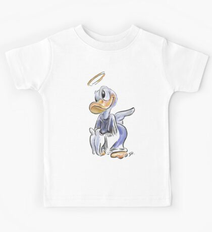 Charcoal and Oil - Angel Donald Duck Kids Tee