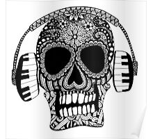 Tangled Skull with Headphones Poster