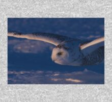 Snowy Owl flys at Sunset One Piece - Long Sleeve