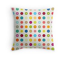 Small vintage and colourful circles Throw Pillow