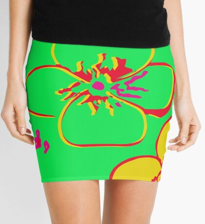Contaminated Flowers Collection - Lime & Yellow Mini Skirt