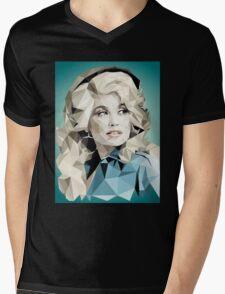 Dolly Parton Pixel Art Mens V-Neck T-Shirt