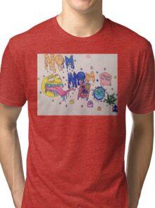 Nom Nom Pacman Tri-blend T-Shirt