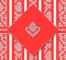 Salmon and White Damask by Doreen Erhardt