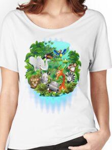 Wild Animals Cartoon on Jungle Women's Relaxed Fit T-Shirt