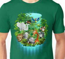 Wild Animals Cartoon on Jungle Unisex T-Shirt