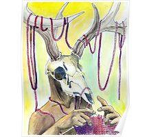 Knitting Deer Poster