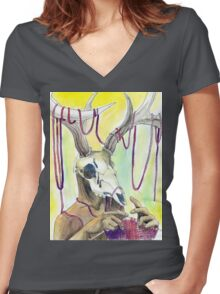 Knitting Deer Women's Fitted V-Neck T-Shirt