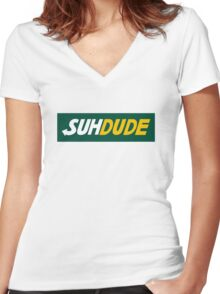 suh dude design Women's Fitted V-Neck T-Shirt