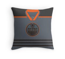 Edmonton Oilers Storm Cross Check Jersey Throw Pillow