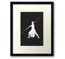 Star Wars - Rey red lightsaber (white) Framed Print