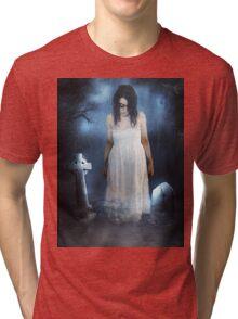 Woman in White Tri-blend T-Shirt