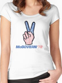 George McGovern Hand Peace Sign 1972 Presidential Campaign Women's Fitted Scoop T-Shirt