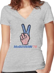 George McGovern Hand Peace Sign 1972 Presidential Campaign Women's Fitted V-Neck T-Shirt