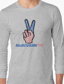 George McGovern Hand Peace Sign 1972 Presidential Campaign Long Sleeve T-Shirt