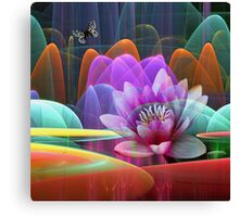 Lotus flower in a magical pond Canvas Print