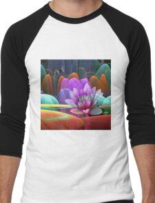 Lotus flower in a magical pond Men's Baseball ¾ T-Shirt