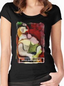 picasso graffiti # 6 - crime scene portrait Women's Fitted Scoop T-Shirt