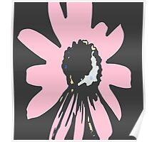 Retro pretty daisy pink black floral pattern Poster