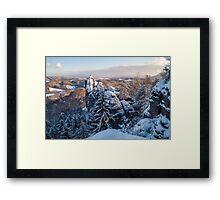 Snowy Rocks of Saxon Switzerland Framed Print