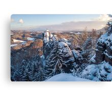 Snowy Rocks of Saxon Switzerland Canvas Print