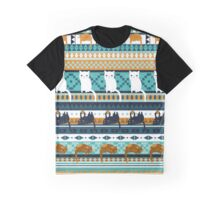 Blue Ethno Cats Graphic T-Shirt