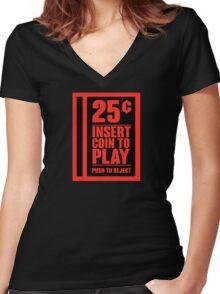Insert Coin Women's Fitted V-Neck T-Shirt