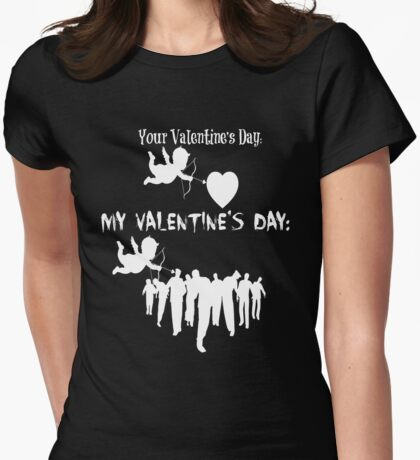 Funny The Walking Dead Mid-Season Premiere Parody Meme My Valentines Day Cupid Walkers Zombies TWD Womens Fitted T-Shirt