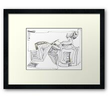Love Two - Original Modern Abstract Art, Gold & Black Ink Painting Framed Print