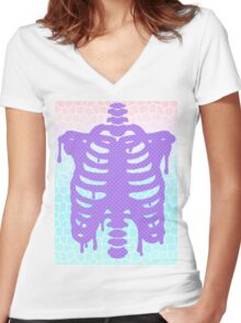 Pastel Ribcage Women's Fitted V-Neck T-Shirt