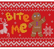 Ugly Christmas Sweater: Bite Me Gingerbread Man  Photographic Print