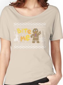 Ugly Christmas Sweater: Bite Me Gingerbread Man  Women's Relaxed Fit T-Shirt