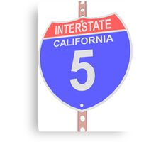 Interstate highway 5 road sign in California Canvas Print